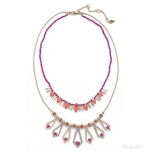New Kent & King Multi strand Crystal Necklace Pink